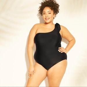 Kona Sol size 18W one shoulder bow tie swimsuit